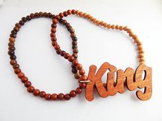 King Necklace Hip Hop Mens Necklace Wood Beaded Necklaces African Jewelry Mens Large Afrocentric Handmade by TheBlackerTheBerry