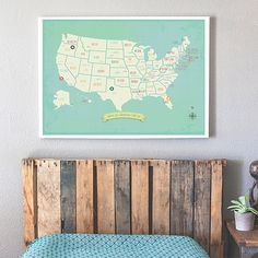 Farmhouse Living Room - My Travels Personalized USA Map Wall Art Print
