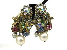 Miriam Haskell Unsigned Earrings , Stunning Pearls Gold Leaves Pastel Rhinestones.