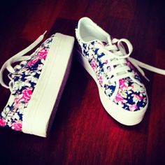 Flowers on my Jeffrey Campbell!🌺 by Gaietta Bright Flowers, Personal Taste, Jeffrey Campbell, 18th, February, Sneakers, Shoes, Style, Fashion