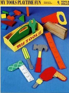 My Tools Playtime Fun Toys Annie's Plastic Canvas Pattern/Instructions Leaflet Plastic Canvas Christmas, Plastic Canvas Crafts, Plastic Canvas Patterns, Christmas Moose, Christmas Child, Christmas Ideas, Christmas Gifts, Diy And Crafts, Crafts For Kids
