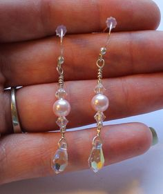 Sterling Silver Genuine Pearl and Crystal Dangle or by onetime, $4.25