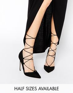 ASOS PILOT Lace Up Pointed High Heels