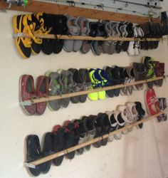 Finally a way to store my son's size shoes. Recommend plexy glass, pl… Finally a way to store my son's size shoes. Recommend plexy glass, plywood, or even a peg board placed behind if you don't want … Shoe Storage Small, Garage Shoe Storage, Shoe Storage Ideas For Small Spaces, Boot Storage, Shoe Storage With Crates, Shoe Storage In Garage, Clever Storage Ideas, Diy Storage, Storage Solutions