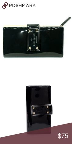 """Kate Spade Stacy Pasadena Black Wallet KATE SPADE NEW YORK                                      -Embossed license plate in front -Flap snap closure -Back full length zip pocket for coins -Black Shiny patent calf leather  -12 credit card slip pockets -ID window  -4 full length compartments -Exterior zipped pocket -Dimensions: 6.6"""" W x 3.5"""" L                                    Great pre-owned condition. 🚫 no trades Kate Spade Bags Wallets"""