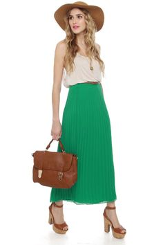 Pleat-y Woman Green Maxi Skirt at LuLus.com!