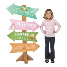 Camp Glam Directional Sign - OrientalTrading.com - Blue & Gold - make this but with Cub Scout colors and pics - easy!
