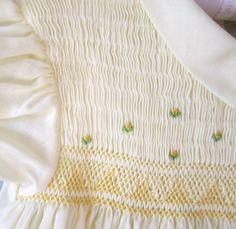 60's Vintage Yellow Smocked & Embroidered Flowers Toddler Dress, Nathan Krauskopf Co.
