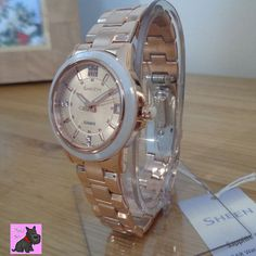 Casio SHE-4512PG-9AUER Ladies Sheen Rose Gold Plated Watch with Swarovski Elements. New