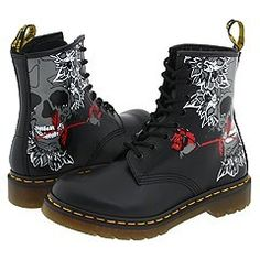Work books? Dr. Martens gothic Rose Skull by at Zappos.com alternative rock rockabilly tattoo style design.