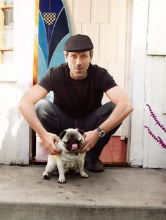 Hugh Laurie with his pug