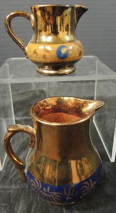 Two Antique Copper lusterware azul y amarillo con bandas Whimsy Jarras | Antigüedades, Artes decorativas, Cerámicas y porcelanas | eBay!