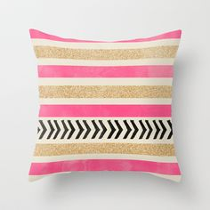 PINK AND GOLD STRIPES AND ARROWS Throw Pillow by Allyson Johnson - $20.00