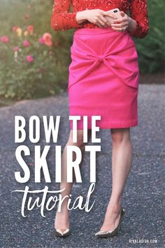 Live everyday like it's a party with this Bow Tie Skirt Tutorial! Diy Clothes Storage, Diy Clothes Videos, Tie Skirt, Skirt Patterns Sewing, Skirt Tutorial, Couture Sewing, Diy Fashion, Fashion Ideas, Cute Skirts