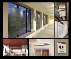 Entry: Best Design-Build Solution. New Milford Hospital. ASI, New England was charged to develop a new, updateable interior sign system that would be easy to maintain as the hospital underwent renovation and future change. The interior signage solution combines a distinctive wood laminate with curved accent elements that reflect architectural details of the building exterior. ASI's scope was expanded to include a family of donor recognition signage to recognize past and present contributors.