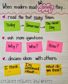 Teach Your Child to Read - Helping primary students understand close reading ~ Love this anchor chart shared by Andrea Knight! Give Your Child a Head Start, and.Pave the Way for a Bright, Successful Future. Reading Lessons, Reading Skills, Teaching Reading, Guided Reading, Reading Logs, Reading Intervention Classroom, Reading Mastery, Cloze Reading, Ielts Writing