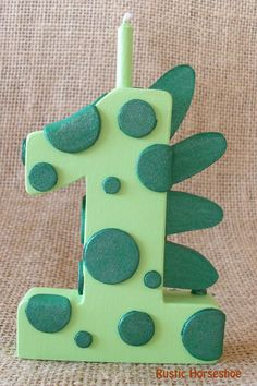 Green Dragon or Dinosaur Wooden Number Candle by RusticHorseShoe