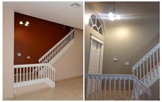 Before, the walls were dark red and a pinkish beige. I chose Glidden Duo Scroll Beige as a new color, and I think it looks quite elegant.