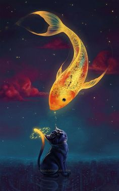 Art fantasy goldfish kitten Mobile Wallpaper - ID 13927 Art And Illustration, Vintage Illustrations, Fantasy Kunst, Fantasy Art, Anime Fantasy, Fantasy Paintings, Digital Paintings, Art Paintings, Ouvrages D'art