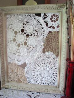 Have you thought about framing your mothers old dollies? Give us a call today, we can frame just about anything! 412-559-8715 ------------- #custom #framing #picture #frames #dolly Framed Doilies, Lace Doilies, Doily Art, Doilies Crafts, Creation Deco, Old Frames, Vintage Handkerchiefs, Linens And Lace, Vintage Crafts