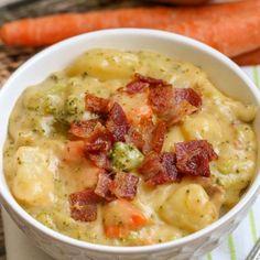 Loaded Broccoli Potato Cheese Soup Recipe + VIDEO | Lil' Luna