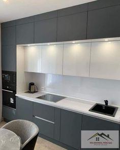Modern Grey Kitchen, Grey Kitchen Designs, Kitchen Cupboard Designs, Modern Kitchen Design, Contemporary Kitchen Cabinets, Kitchen Layout Interior, Kitchen Room Design, Kitchen Decor, Open Plan Kitchen Living Room