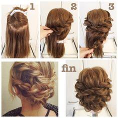 「#hairarrenge * ダブルロープ編みこみのアップスタイル * #アレンジ解説 * ①上下にブロッキングします * ②下の部分をダッカールでまとめておき、上の右前から後ろにロープ編みこみをして中央よりやや左にピンでとめます。左半分も同じようにします。 * ③下の部分も上と同じようにします。 *…」