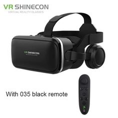 VR Shinecon 6.0 Pro Stereo VR Headset Virtual Reality Helmet Smartphone 3D Glasses Mobile Google BOX + Headphone for 4-6' Phone