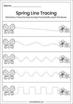 Spring Line Tracing Worksheet