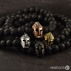 The Gladiator Bracelets - hand made from natural lava stones.
