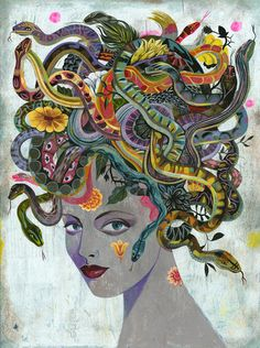 Medusa - by Olaf Hajek. This image depicts Medusa in a more soft way than others normally portray her. It somewhat shows her in a more appealing and seductive aspect compared to the more scary image people think when someone says her name. Medusa Kunst, Medusa Art, Medusa Tattoo, Medusa Gorgon, Medusa Painting, Snake Tattoo, Art And Illustration, Tarot Gratis, Pablo Picasso