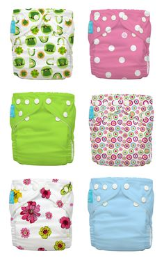 Getting ready for Easter fun with a splash of colors. Easter eggs here we come!  Big Polka Dots on Baby Pink, Shanghai Green, Baby Blue, Blooms,... #charliebanana #clothdiaper #easter