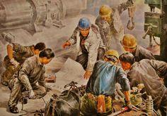Obra exhibida en la Casa de Creación Mansudae, mayor centro de producción artística de Corea Socialist Realism, North Korea, Painting, Fictional Characters, Korea, The Creation, Centre, Artists, Painting Art