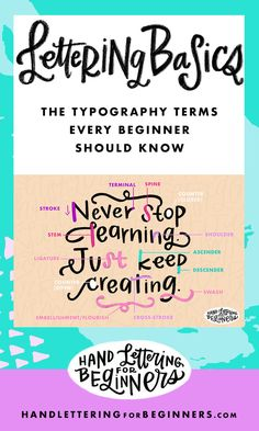 A glossary of typography terms helpful for beginners who want to learn hand lettering. ~ GREAT ARTICLE ~ A.M