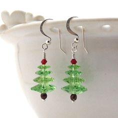 Christmas Tree Earrings, Light Green Swarovski Crystal