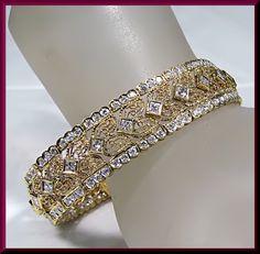 Vintage 18K Yellow Gold 6.5 CT Diamond Filigree Bracelet