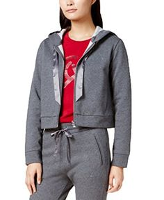 4a3b8ddb54 New A|X Armani Exchange Women's Fleece Front Zip Ribbon Drawstring Hoodie.  Women Fashion