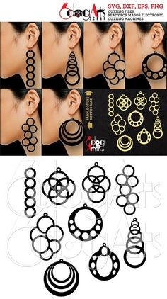 9 Wood / Acrylic Circles Earring / Pendant Templates Vector Digital SVG DXF eps Jewelry Cut Files Do Quilling Jewelry, Paper Quilling, Diy Jewelry, Jewelry Making, Silver Jewelry, Silver Ring, Jewellery, Leather Earrings, Leather Jewelry