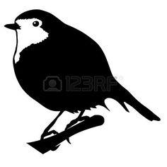 Illustration dans le style de la silhouette noire de robin