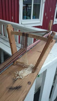 Antique Tabletop Loom (there appear to be notches to keep the heddles separated)