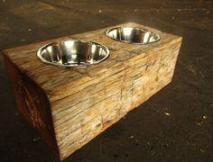 Wood Dog Dish Holder reclaimed oak barn beam 2 by VintageLumber Barn Wood Crafts, Barn Wood Projects, Reclaimed Wood Projects, Reclaimed Barn Wood, Rustic Wood, Diy Projects, Wood Lumber, Old Wood, Pet Furniture