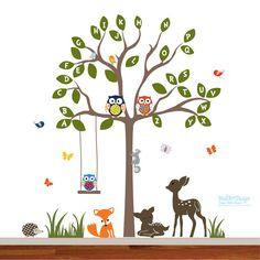 Children wall decal jungle tree decal with owls, birds, butterflies, flowers ,deer ,fox, grass.  Perfect for a kids playroom ,nursery ,forest
