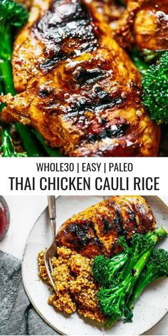 Easy thai chicken ca Easy thai chicken cauliflower rice. A delicious healthy and paleo family meal. You can even make this dish ahead of time freeze it and eat later! dinner and lunch. Paleo Cauliflower Rice, Chicken Cauliflower, Paleo Rice, Cauli Rice, Paleo Fruit, Basil Chicken, Healthy Drinks, Healthy Recipes, Meal Prep
