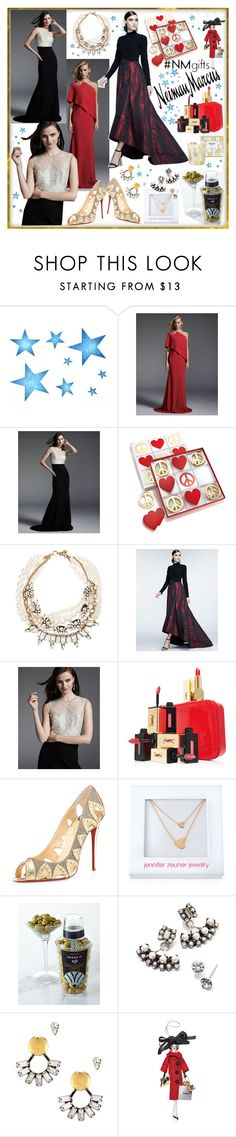 """""""The Holiday Wish List With Neiman Marcus: Contest Entry"""" by westcoastcharmed ❤ liked on Polyvore featuring Carmen Marc Valvo, Jonathan Adler, Lulu Frost, Theia, Neiman Marcus, Yves Saint Laurent, Christian Louboutin, Jennifer Zeuner, DANNIJO and Soffieria de Carlini"""