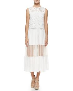 Bridal Shower -Pania Pleated Dress w/Lace Popover by Alexis at Neiman Marcus.