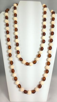 Long 50s Necklace Cream Carved Rossette and Root by TheArtisanal