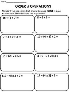 Free Order Of Operations:This Product Contains 1 Worksheet With The Order  Of Operations.