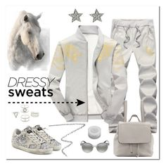 """Sweatpants:  Dapple Gray"" by judysingley-polyvore ❤ liked on Polyvore featuring Golden Goose, Shiseido, Burberry, Charlotte Russe, Versace, Neiman Marcus and sweatpants"