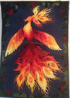 Firebird wall quilt (raw edge appliqué) by Olena Pugacheva in Ireland. https://www.pinterest.com/lenagorn/my-sewing-and-quilting/
