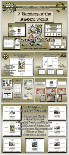 Research the 7 Ancient Wonders of the World with this Unique Tri-Fold Activity. There is 1 Pre-Made Tri-Fold for each of the 7 Ancient Wonders. You can also design your own Tri-Fold (after printing) by creating your own headings. Students can create design the Tri-Folds tot their own taste for a more inclusive activity.